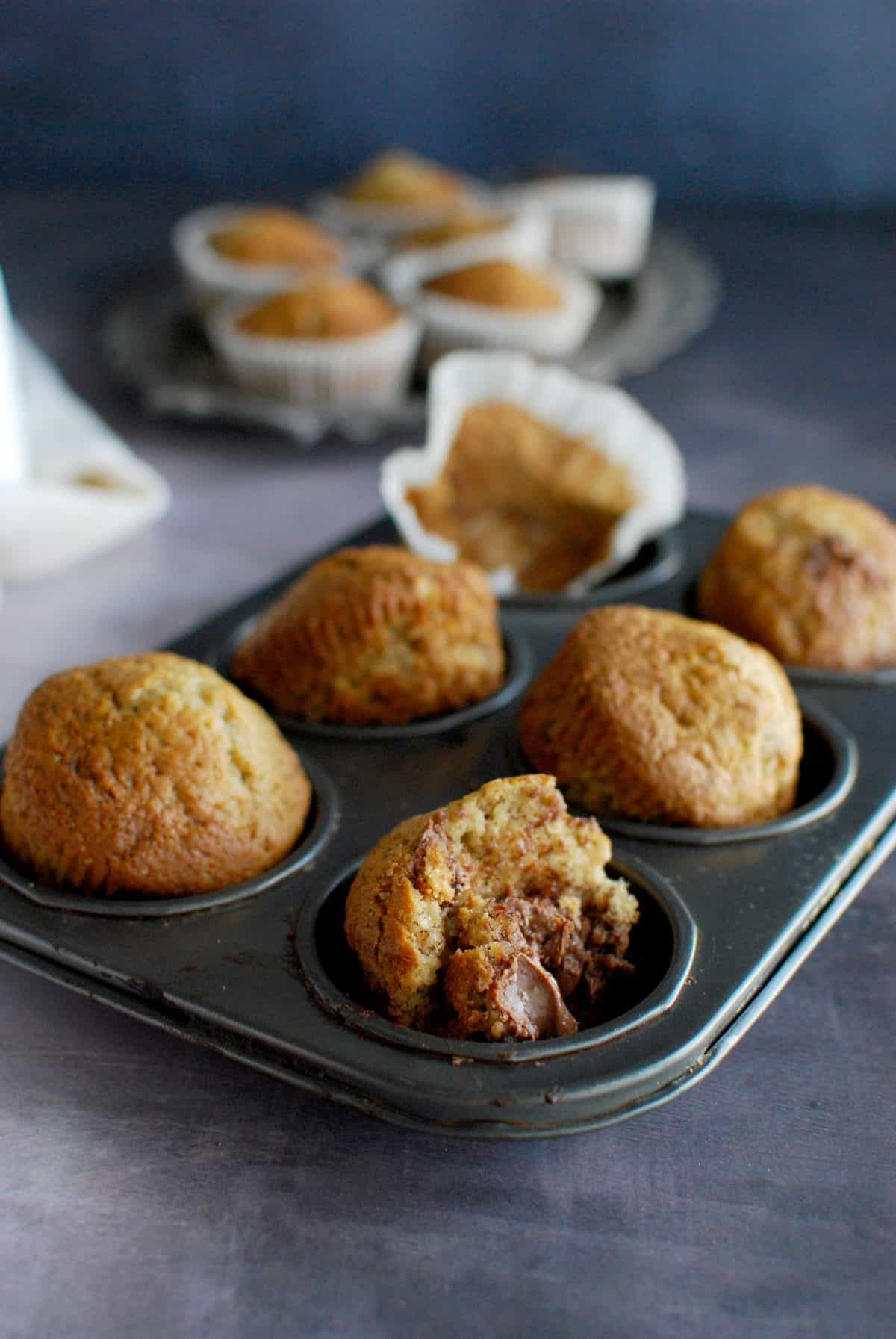 banana praline muffins, μαφινς με μπανάνα νουτέλα πραλίνα