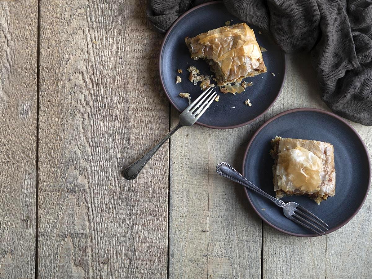 μανιταρόπιτα με πράσο και φύλλο κρούστας