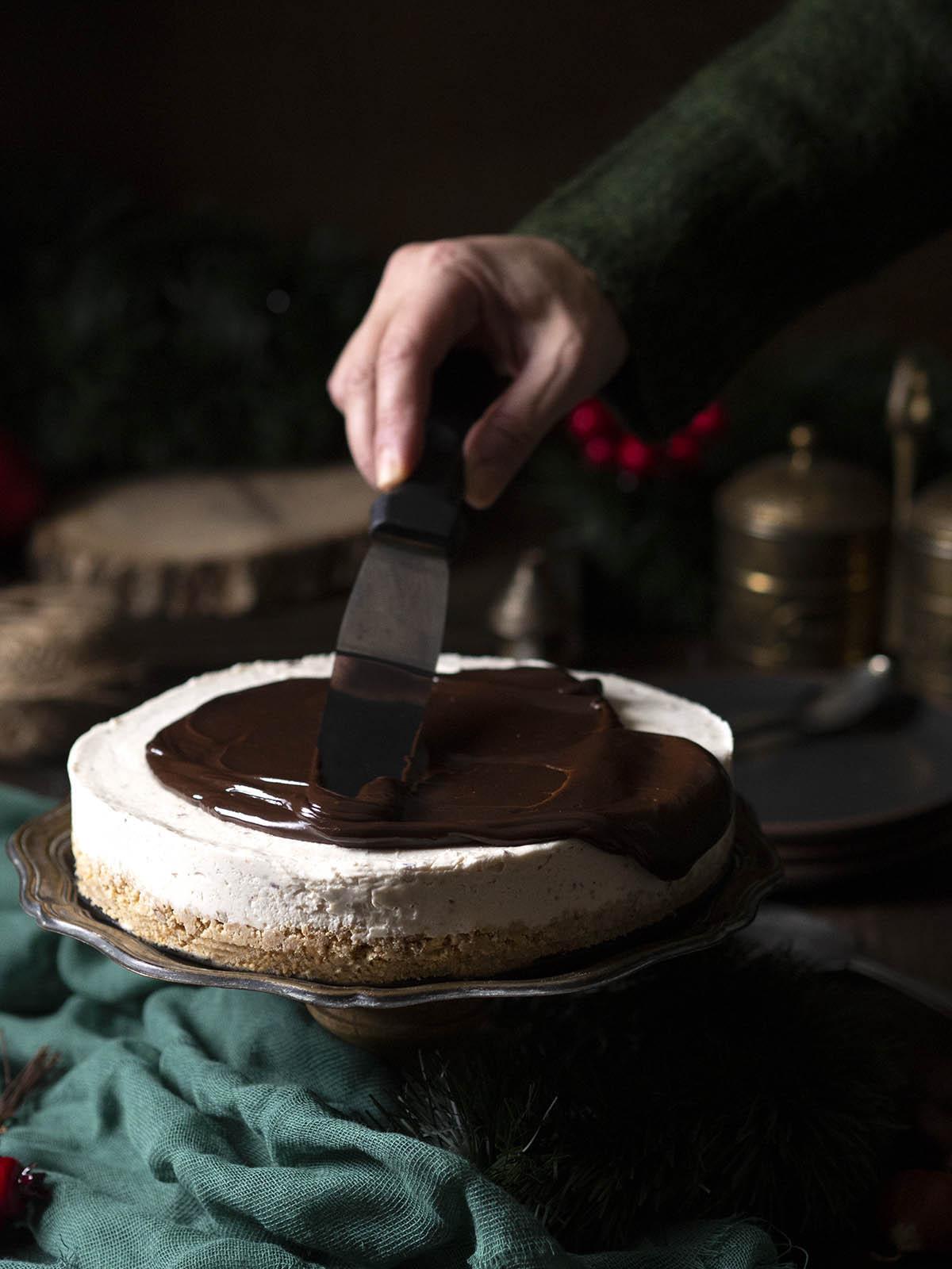 Χριστουγεννιάτικο γλυκό cheesecake με κάστανο
