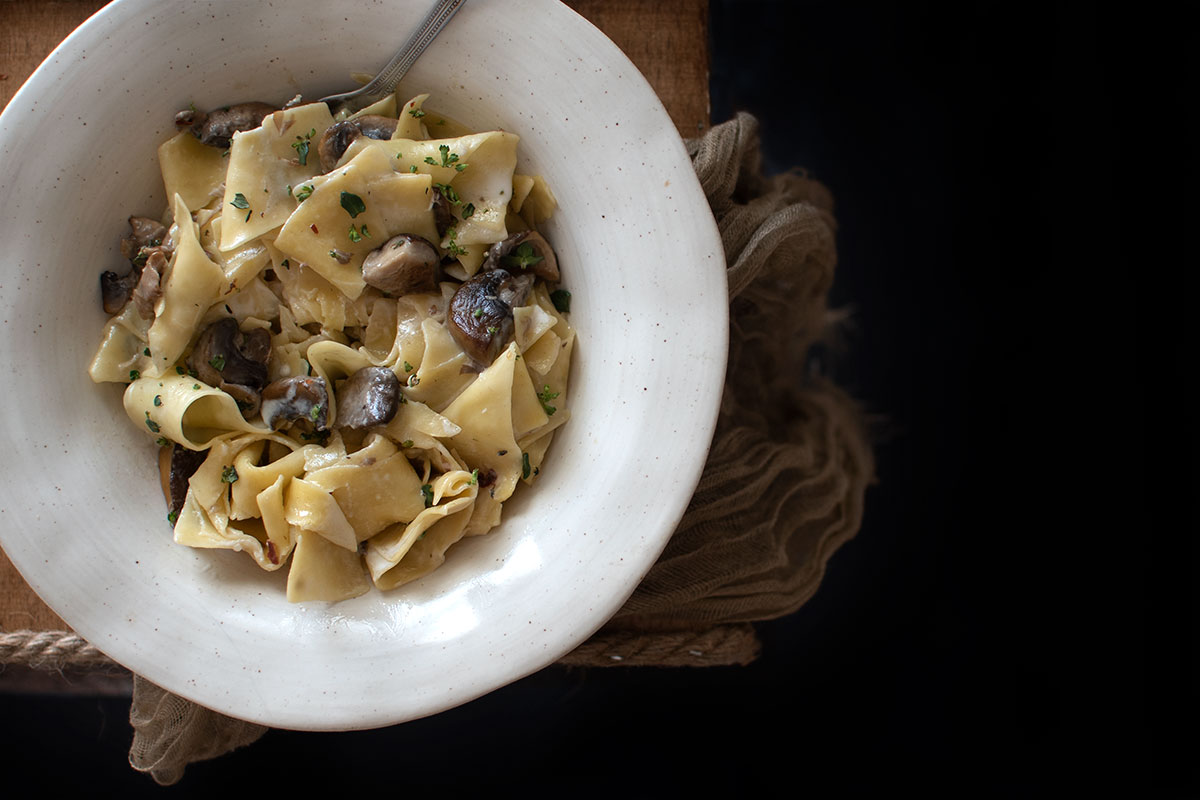 pasta, παπαρδέλες, ζυμαρικά με μανιτάρια και κρέμα καρύδας