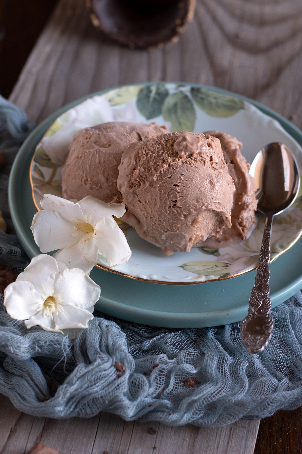 παγωτό φυστικοβούτυρο, πραλίνα, χωρίς παγωτομηχανή