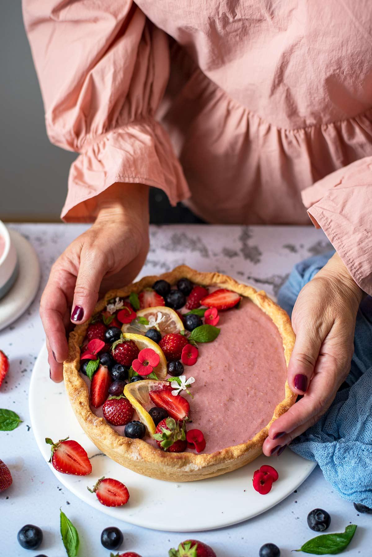 τάρτα με κρέμα φράουλας